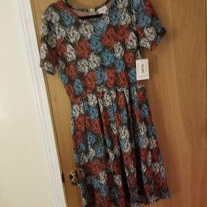 Red white and blue rose printed Amelia style dress